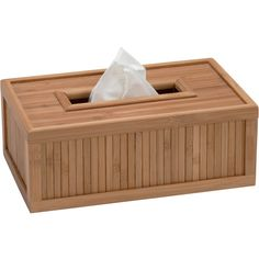 Bamboo Tissue Box - Ecostyle - This Bamboo Tissue Box keeps your facial tissues from being knocked over accidentally. Beautiful bamboo finish with slot at the top for tissues to be pulled through. The design of the facial tissue box is flat. Slatted elegant pattern on all edges of the box. Bamboo finish is sustainable and eco-friendly. This tissue holder would add a relaxing zen feel to any room of the home, not just the bathroom. Purchase other items in the Ecostyle collection to complete…