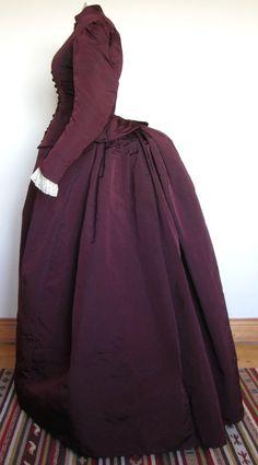 Fabulous Antique Victorian Burgundy Coloured Silk Bustle Walking Dress 1885 Sz S | eBay