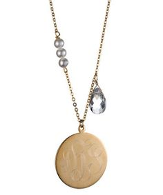 Danielle Stevens Mongram Gold Circle Necklace