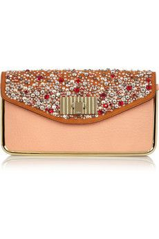 Chloé, Sally Swarovski crystal-embellished leather clutch