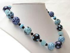 Azuro   Halskette  handgefertigte Polymer Clay von polymerdesign