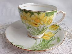 Royal Standard Tea Cup and Saucer Daffodils by Oldcutvintage