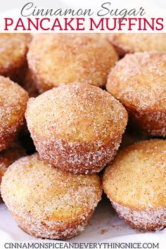Cinnamon Sugar Pancake Muffins - Cinnamon sugar coated pancakes baked in portabl. - Cinnamon Sugar Pancake Muffins – Cinnamon sugar coated pancakes baked in portable muffin form are - Baked Pancakes, Pancake Muffins, Mini Pancakes, Pancakes Kids, Omelette Muffins, Pancake Cupcakes, Doughnut Muffins, Baking Muffins, Fluffy Pancakes
