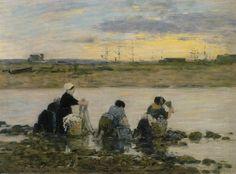 Eugène Boudin, Washerwomen by the River, ca 1883 on ArtStack #eugene-boudin #art