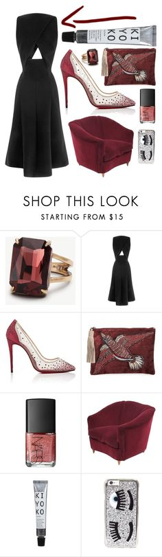 """Cutout"" by cherieaustin on Polyvore featuring Ann Taylor, Thakoon, Christian Louboutin, Sam Edelman, NARS Cosmetics and Chiara Ferragni"