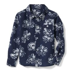 Boy Navy Hibiscus Print Linen Shirt by Janie and Jack | Linen-cotton, hibiscus print and a button chest pocket, details that make our shirt just right for any occasion. Boys clothing #afflink