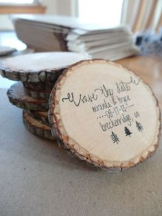 My woodland wedding Save the Dates! :  wedding calligraphy diy outdoor rustic save the date wedding wood slices woodland STD 2