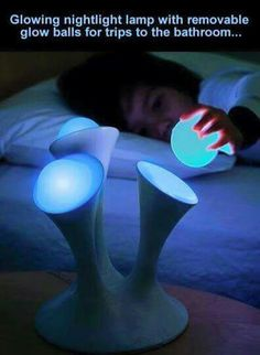 Glowing lamp with removable light balls for trips to the bathroom! ~ genius