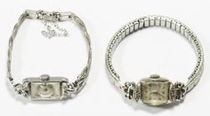 Lot 500: 14k White Gold Case Wrist Watch Assortment; Two watches including Elgin and Seth Thomas, both with Swiss movements having 17 jewels, on partially gold filled bands and having unusual shaped crystals