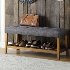 Add a timeless look to your home with this durable Acme Furniture Charla Gray and Oak Storage Bench. Oak Storage Bench, Oak Bench, Shoe Storage Cabinet, Upholstered Storage Bench, Entryway Bench, Storage Rack, Storage Ideas, Smart Storage, Entryway Decor