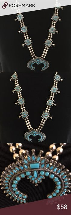 Vintage Squash Blossom Native American Necklace Beautiful necklace these were made in the 70's. This is silvertone and faux turquoise. Zuni style. This is costume jewelry vintage necklace. No maker marks. As pictured like new condition. Please if making offers keep in mind I pay posh 20 percent have shipping and travel expenses and also purchase to resale. Thank u for looking I try to price reasonably and offer bundle discount. Jewelry Necklaces