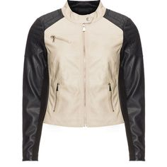 Zizzi Black / Beige Plus Size Two tone biker jacket (385 BRL) ❤ liked on Polyvore featuring outerwear, jackets, black, plus size, beige biker jacket, motorcycle jackets, plus size quilted jacket, zipper jacket and quilted biker jacket