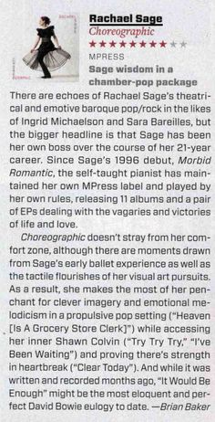 MAGNET Magazine Review - #RachaelSage #Choreographic 8 out of 10