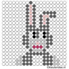 Kralenplank haas, kleuteridee.nl , free printable  Beads patterns preschool
