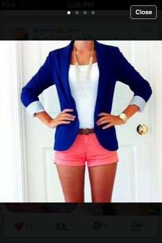 Preppy royal blue blazer with cute pink shorts!
