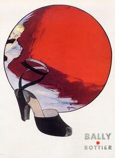 By René Gruau, 1947, Bally Shoes.