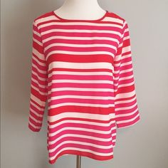Pink and Red Striped Top Great for Valentines a Day!  Great bright pink, white and red top from Forever 21.  Looks great under a blazer or with jeans.  Semi sheer.  Fits true to size.  Small pull on front that is barely noticeable (shown in pic 2). Forever 21 Tops