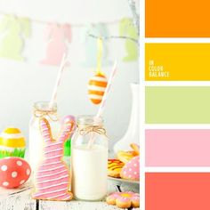 color combination for Easter holiday palettes with color ideas for decoration your house, wedding, hair or even nails. Orange Color Palettes, Color Schemes Colour Palettes, Red Colour Palette, Color Palate, Color Combos, Pink Palette, Design Seeds, Orange Pink Color, Pale Pink