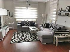 Preto e branco - Pink Unicorn Condo Living Room, Simple Living Room, House Rooms, Interior Design Living Room, Home And Living, Living Room Designs, Living Room Decor, Black And White Living Room, Black White