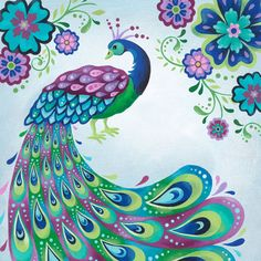 Peacock Gallery Wrapped Canvas Print 30 X 30 door pictorialboom