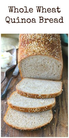 This whole wheat quinoa bread is packed with high protein quinoa and flax seeds. This whole wheat quinoa bread is wonderful sliced an. Wheat Bread Recipe, Tasty Bread Recipe, Yeast Bread Recipes, Flatbread Recipes, Quinoa Flour Recipes, Ripped Recipes, Gluten Free Wraps, Easy Homemade Recipes, Homemade Breads
