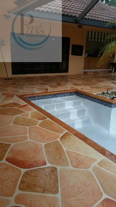 decorative concrete overlay for pool deck remodeling job