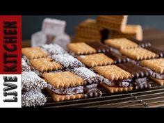 """Μπισκοτολούκουμο """"Σε 10 λεπτά"""" Ένα γλυκό από τα παλιά!!Lokum and biscuit Sandwich   Live Kitchen!! - YouTube Tasty Videos, Kitchen Living, Easy Desserts, Cookies, Vegan, Youtube, Live, Food, Crack Crackers"""