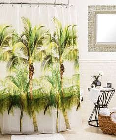 Splash Home Peva Palm Tree Shower curtain Liner Design for Bathroom Showers and Bathtubs - Free of PVC Chlorine and Chemical Smell - Eco-Friendly - Waterproof, 72 X 70 inch - Green, Brown Tropical Shower Curtains, Tropical Showers, Tree Shower Curtains, Tropical Bathroom, Bathroom Plants, Shower Curtain Sets, Bathroom Curtains, Coconut Palm Tree, Lush Bath