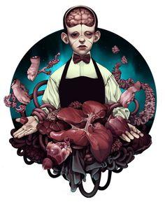 Digital art and illustration by Tiia Reijonen Bizarre Art, Creepy Art, Arte Horror, Horror Art, Art Pop, Character Illustration, Illustration Art, Gothic Art, Art Inspo