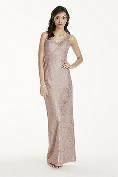 This long tank dress features all over metallic lace with illusion straps and scalloped V-neck for a sophisticated look. Fully lined. Zipper back. Dry clean only. Pinterest Bridesmaid Dresses, Bridesmaid Dresses Under 50, Sequin Prom Dresses, Chiffon Dresses, Bridesmaids, Informal Wedding Dresses, Metallic Lace, Tank Dress, Lace Tank