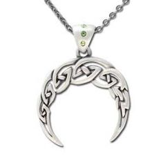 "A crescent moon, formed by Celtic knots; this pewter pendant is a display of the mystery and magic of the moon. Has 18"" chain. Pewter. 1 1/2"" x 1 1/2"""