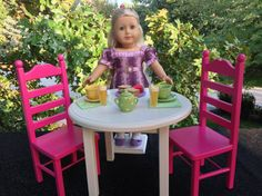Pink Tweeter American Girl Doll Round Table And 2 Chair Set