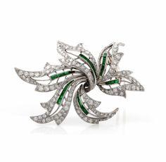 Antique 8.43 cts Platinum Diamond Emerald Floral Lapel Brooch - Dover Jewelry