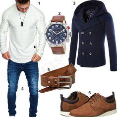 Herbst-Outfit für Herren in 2017 mit weißem Amaci&Sons Longsleeve, blauem Cloudstyle Mantel, blauer Merish Jeans, angesagter Tommy Hilfiger Herrenuhr, Ledergürtel mit Vintage-Look und Timberland Boots. #outfit #style #fashion #ootd #männer #herren #outfit2017 #outfit #style #fashion #menswear #mensfashion #inspiration #shirt #cloth #clothing #styling #sneaker #menstyle #inspiration