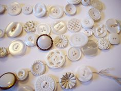 Button Garland Vintage White Buttons 9 FT