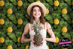 Tropical palm leaves and pineapples wallpaper  modern mural