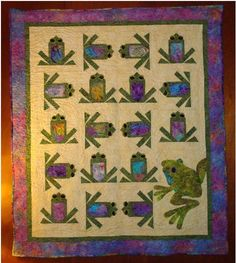 """Frog Quilt.  I would want all the blocks to """"match"""" rather than having the applique in that bottom corner."""