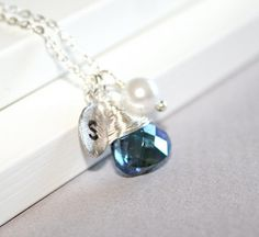 Personalized Sapphire Crystal  and Pearl Necklace by smilesophie, $19.00