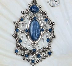 Artisan Wire Wrapped Kyanite Necklace Sterling Filigree with Jade