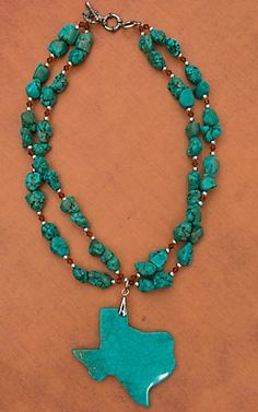 Wired Heart® Turquoise Texas Stone Pendant with Turquoise Stone Beads NK13CB02TRQ
