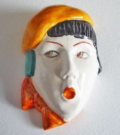 Rare Beswick 'Girl with Beret and Scarf' Miniature Wall Mask Model No.362 c1935