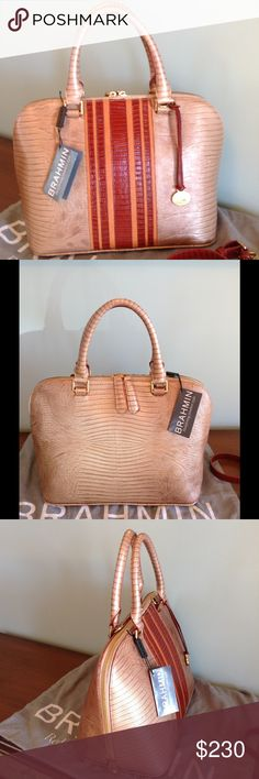 "Brahmin Vivian Cabana Vineyard Satchel NWT  Stunning satchel by Brahmin ! Structured , Feminine in a beautiful beige neutral with striped tan & reddish brown front. Nice Medium size with dual zipper pulls , rolled handles , crossbody & shouldef strap that is removable & adjustable with a drop up to 22.5"" More photos available. Signature suede lining , Brahmin hanging medallion , zip jewelry plus zip wall pocket , 2 organizer pockets , key clip & pen loops.  Registration Card & dust bag…"
