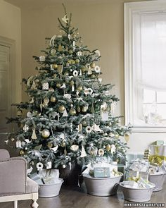 Place wrapped gifts in buckets, baskets and large bowls around the tree.