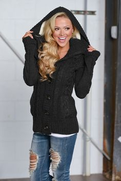 Waiting For You Hooded Sweater - Black from Closet Candy Boutique
