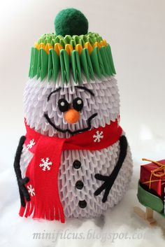 "Diy - How to make Snowman Origami 3d  - ""KROK PO KROKU"" DIY: Bałwan Origami 3D"