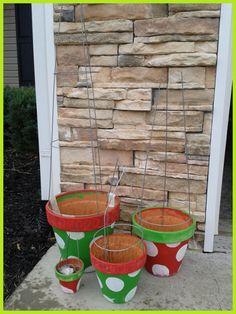11 tomato cage tree polka dot pots