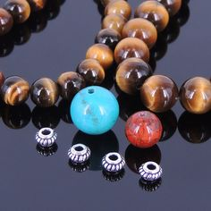 DIY Gemstone Bracelet Kit Tiger Eye Turquoise Red Jasper Stone 925 Sterling Silver Spacers BR017FK-02 by diynotion. Explore more products on http://diynotion.etsy.com