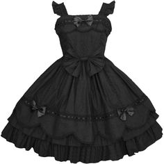 Amazon.com: Partiss Womens Black Cap Sleeves Ruffled Sweet Gothic... ($10) ❤ liked on Polyvore featuring dresses, frill dress, short cap sleeve dress, cap sleeve dress, flouncy dress and ruffle dresses