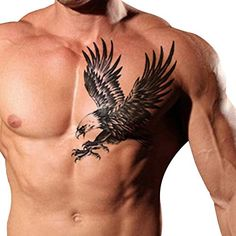 TAFLY Men's Temorary Tattoos Black Large Eagle Wings Pattern Chest Transfer Tattoo Stickers for Men 2 Sheets. Attention:Products surface layer of transparent plastic,removed transparent plastic,back side completely and press the tattoo ,water wet tattoo,Please use correct. Sexy fake tattoos lasts anywhere from 1- 5 days. Black Eagle Temporary Tattoo,each All-In-One package includes 2 sheets. Meet rigid safety and non-toxic materials standard. To Remove: Saturate tattoo with household…