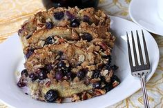 Make-Ahead Baked Blueberry Whole Grain French Toast with Streusel Topping